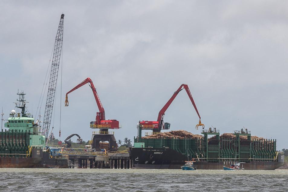 O terminal portuário no município de Caravelas, no Sul da Bahia.